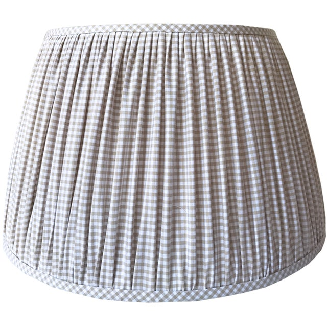 New, Made to Order, Cotton Beige Gingham,Gathered/Pleated Chandelier or Sconce Shade - Image 2 of 2