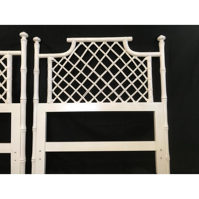 Wood 1970s Ficks Reed Twin or King Faux Bamboo Hollywood Regency Pagoda Headboards - a Pair For Sale - Image 7 of 13