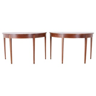 Pair of American Hepplewhite Style Demilune Console Tables For Sale