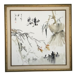 Vintage Chinese Ink on Canvas Large Format Painting For Sale