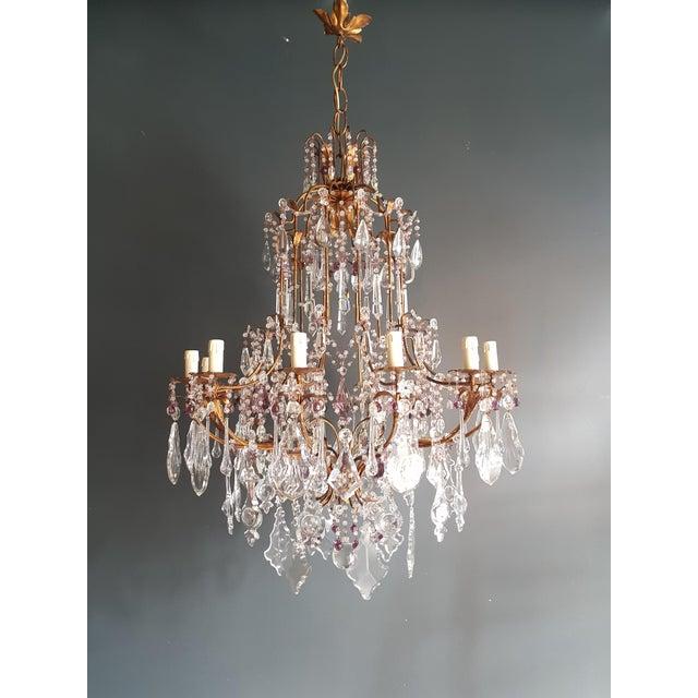 Art Nouveau Crystal Chandelier Antique Ceiling Lamp Murano Florentiner Lustre Art Nouveau Purple For Sale - Image 3 of 11