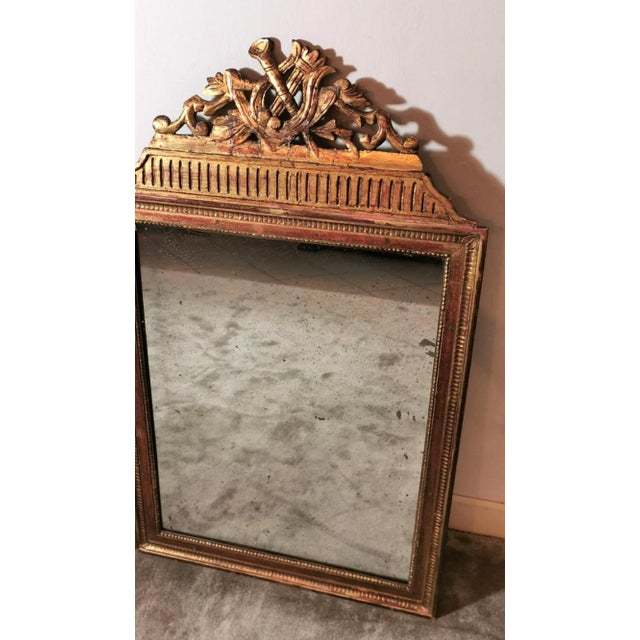 Gold 1750 French Louis XVI Gold Leaf Wood Mirror For Sale - Image 8 of 13