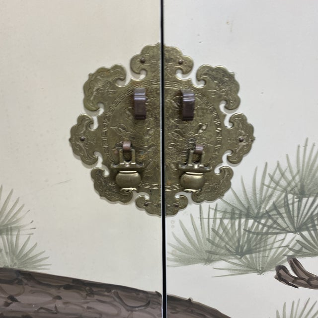 Glass Hand Painted Asian Style Chest With Matching Mirror For Sale - Image 7 of 12