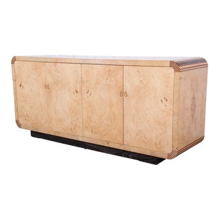 Milo Baughman Style Burled Olive Wood Credenza by Henredon For Sale