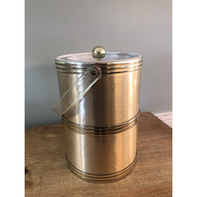 Georges Briard Mid Century Gold Lucite Ice Bucket For Sale - Image 9 of 9