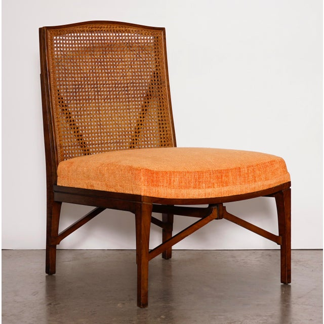 """1940s Antique """"American of Chicago"""" Mid-Century Modern Walnut & Cane Accent Chair With Side Table For Sale - Image 10 of 13"""
