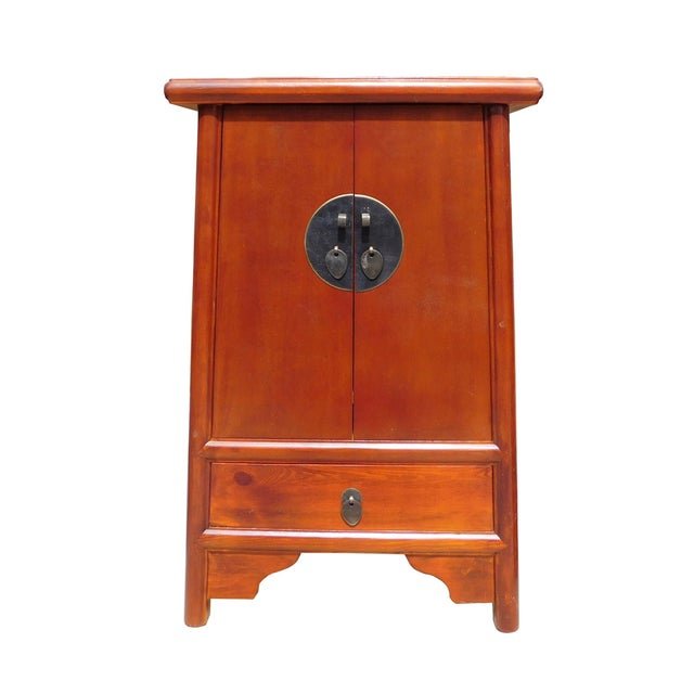 Brown Chinese A Shape End Table/Nightstand - Image 1 of 5