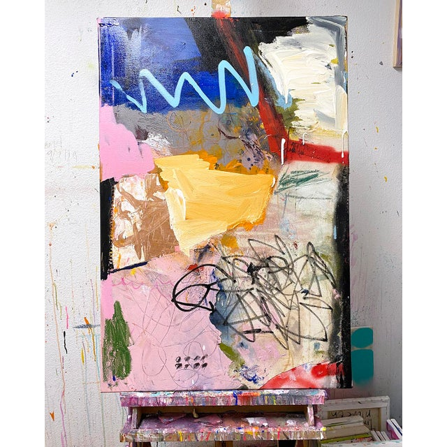"""24x36"""" mixed media and collage on canvas by established artist Lesley Grainger. Eclectic shapes and colors. Signed, titled..."""