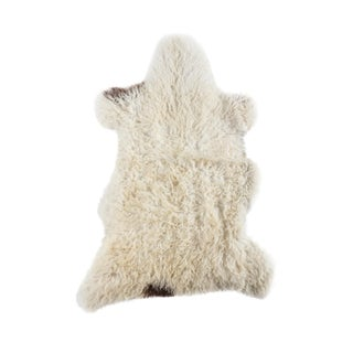 "Contemporary Long Wool Sheepskin Pelt, Handmade Rug - 2'0""x3'0"" For Sale"