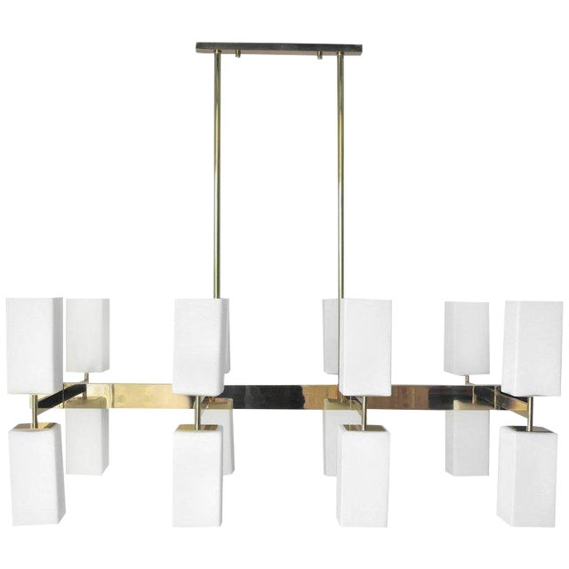 Italian modern chandeliers with frosted white rectangular Murano glass shades, mounted on polished brass frames / Designed...