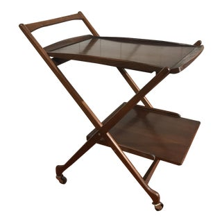 Danish Folding Walnut Bar Cart With Serving Tray
