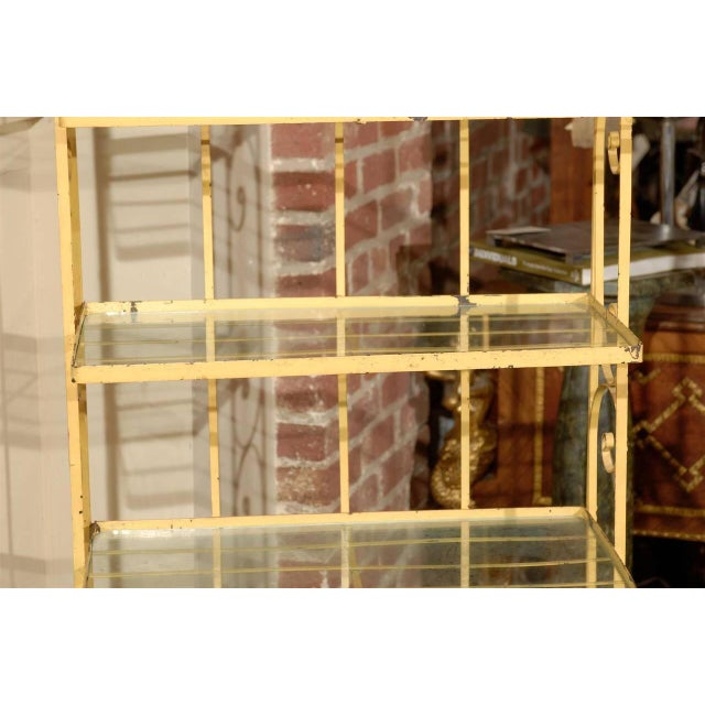 Boho Chic Mid-Century Yellow Iron Baker's Rack For Sale - Image 3 of 6