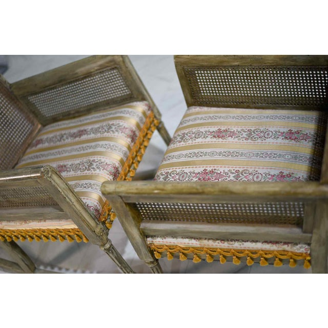 Mid-Century Cane-Back Tassel Fringe Rocking and Arm Chairs - a Pair For Sale - Image 4 of 11