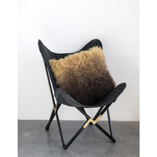 Mid-Century Modern Leather Butterfly Chair For Sale - Image 3 of 6