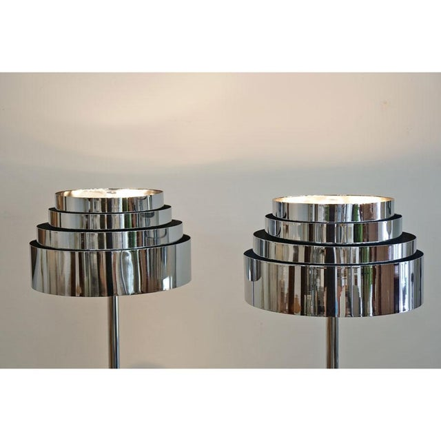 Mid-Century Modern 1970s Mid Century Chrome Torchere Floor Lamps - a Pair For Sale - Image 3 of 9