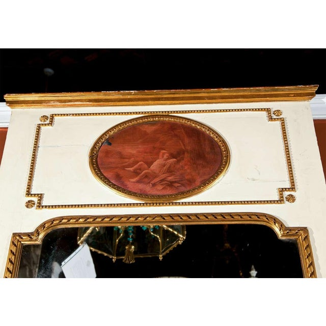 Glass White Painted & Parcel-Gilt French Trumeau Mirror For Sale - Image 7 of 10