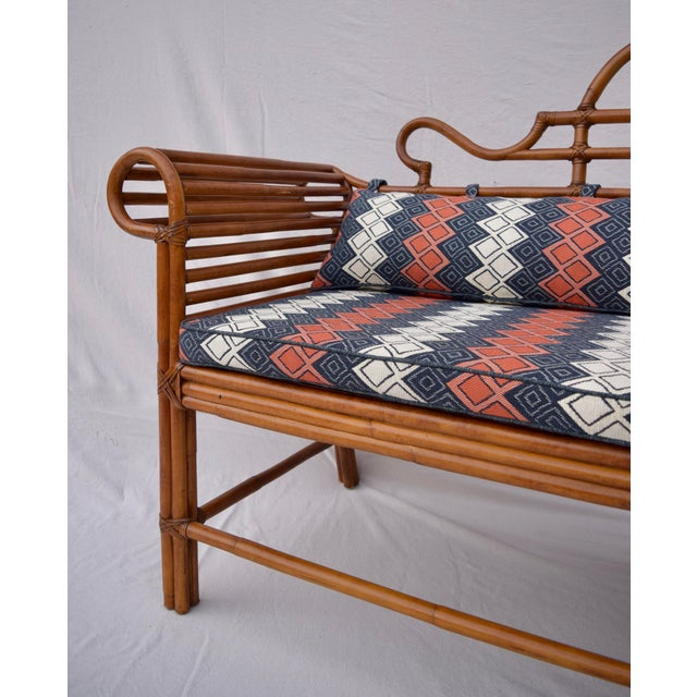 Lane Furniture Lane Furniture Bamboo Caned Rattan Chinoiserie Sofa For Sale - Image 4 of 13