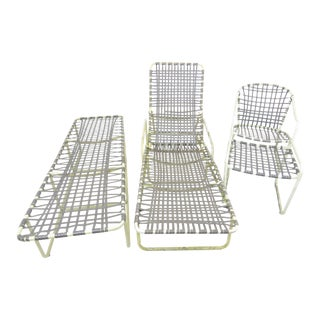 1960s Brown Jordan Lido & Tropitone Aluminum Patio Lounger Suite - 4 Pieces For Sale