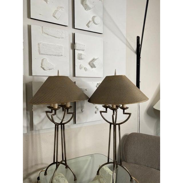 "Base measures 8.5"". Pair of beautiful woven shade and iron patina lamps."