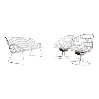 Italian Iron Patio Bench & Swivel Chairs, Set of 3 For Sale