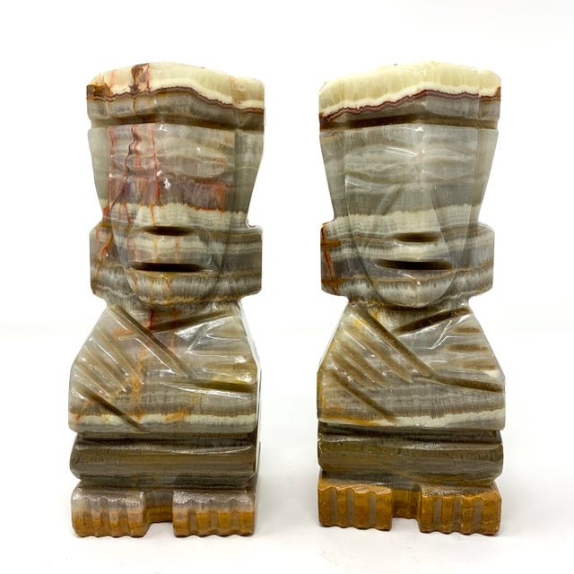 Mid-Century Carved Stone Tiki Bookends - a Pair For Sale - Image 12 of 12