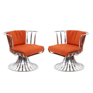 1960s Vintage Russell Woodard Polished Aluminum Lounge Chairs- A Pair For Sale