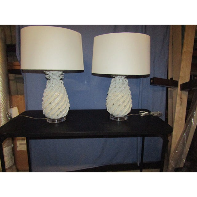 Ceramic Ceramic Pineapple Lamps with White Glaze and Drum Shades - a Pair For Sale - Image 7 of 7