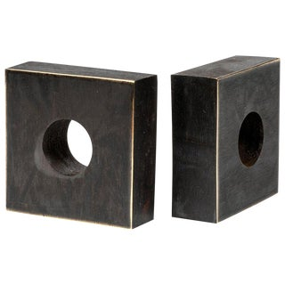 Carl Auböck Model Patinated Brass Bookends - a Pair For Sale