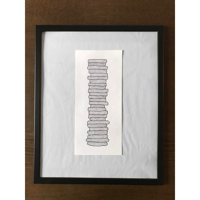 Stacked Shapes Hand Drawn Ink Illustration For Sale - Image 4 of 4