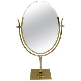 Polish Brass and Leather Vanity Mirror by Charles Hollis Jones
