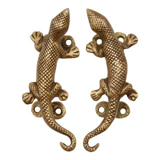 Brass Lizard Door Handles - a Pair For Sale