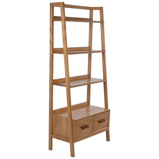 Mid-Century Modern Johnson Bookcase, Natural For Sale - Image 3 of 8