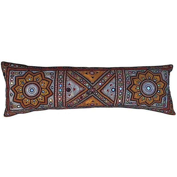 Indian Embroidered Metallic Body Pillow For Sale
