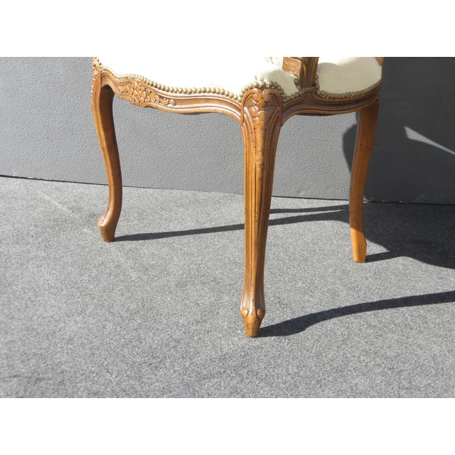 Vintage French Provincial Accent Arm Chairs - Pair - Image 9 of 11