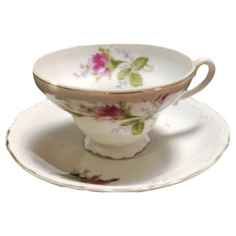 Vintage Pink & Green Flowered Cup & Saucer - Image 1 of 7