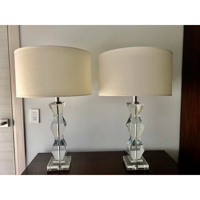 2010s Ethan Allen Geometric Crystal Lamps and Shades - a Pair For Sale - Image 5 of 5