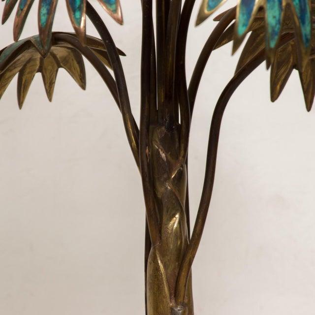 Mid-Century Modern 1950s Pepe Mendoza Palm Tree Table Lamp in Bronze & Malachite, Mexico For Sale - Image 3 of 11