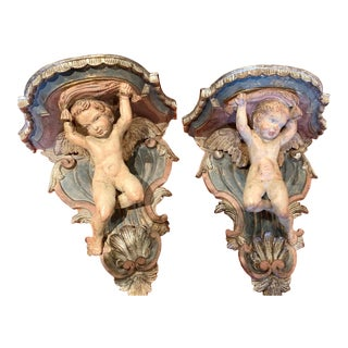Early 19th Century Wood Polychrome Painted Cherub Angel Wall Brackets - a Pair For Sale