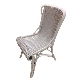 Antique White Wicker Desk Chair