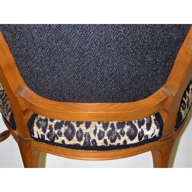 Lovely Pair of Louis XV Style Fauteuils or Chauffeuses by Saridis in Leopard Chenille, 1960s For Sale - Image 9 of 13