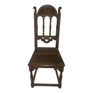 19th Century Philadelphia College of Bible Carved Oak Chair For Sale