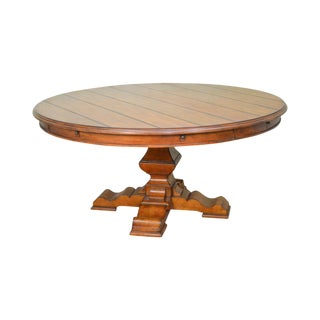 "Rustic Large 64""-82"" Round Pedestal Dining Table by Stanley"