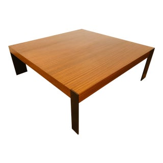 Antoine Proulx French Series Ct-33 Modern Walnut With Steel Legs Coffee Table For Sale