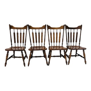 Vintage Temple Stuart Rockingham Solid Hard Rock Maple Cattail Back Dining Chairs S/4 For Sale