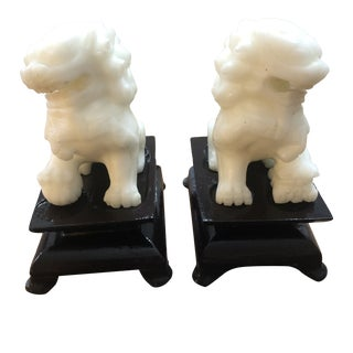 Vintage Miniature Soapstone Foo Dogs on Stands - a Pair For Sale