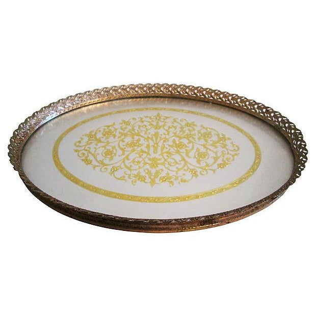 Midcentury Filigree Gold & Silver Foil Vanity Tray For Sale