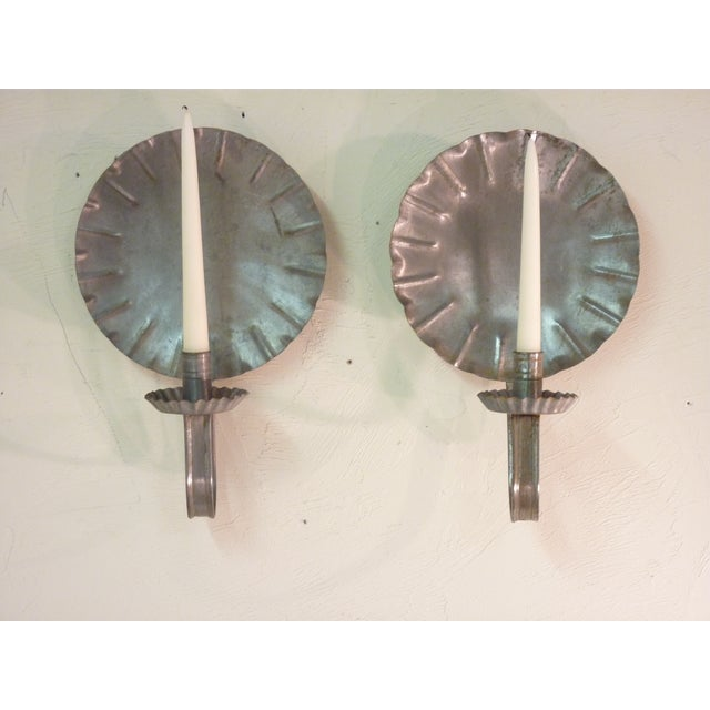 Vintage New England Tin Sconces - A Pair - Image 2 of 4