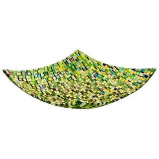 Modern Italian Jewel-Like Green Yellow & 24Kt Gold Murano Art Glass Mosaic Bowl For Sale