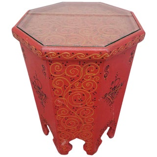 Moroccan Hand-Painted Hexagonal Red Wood Side Table