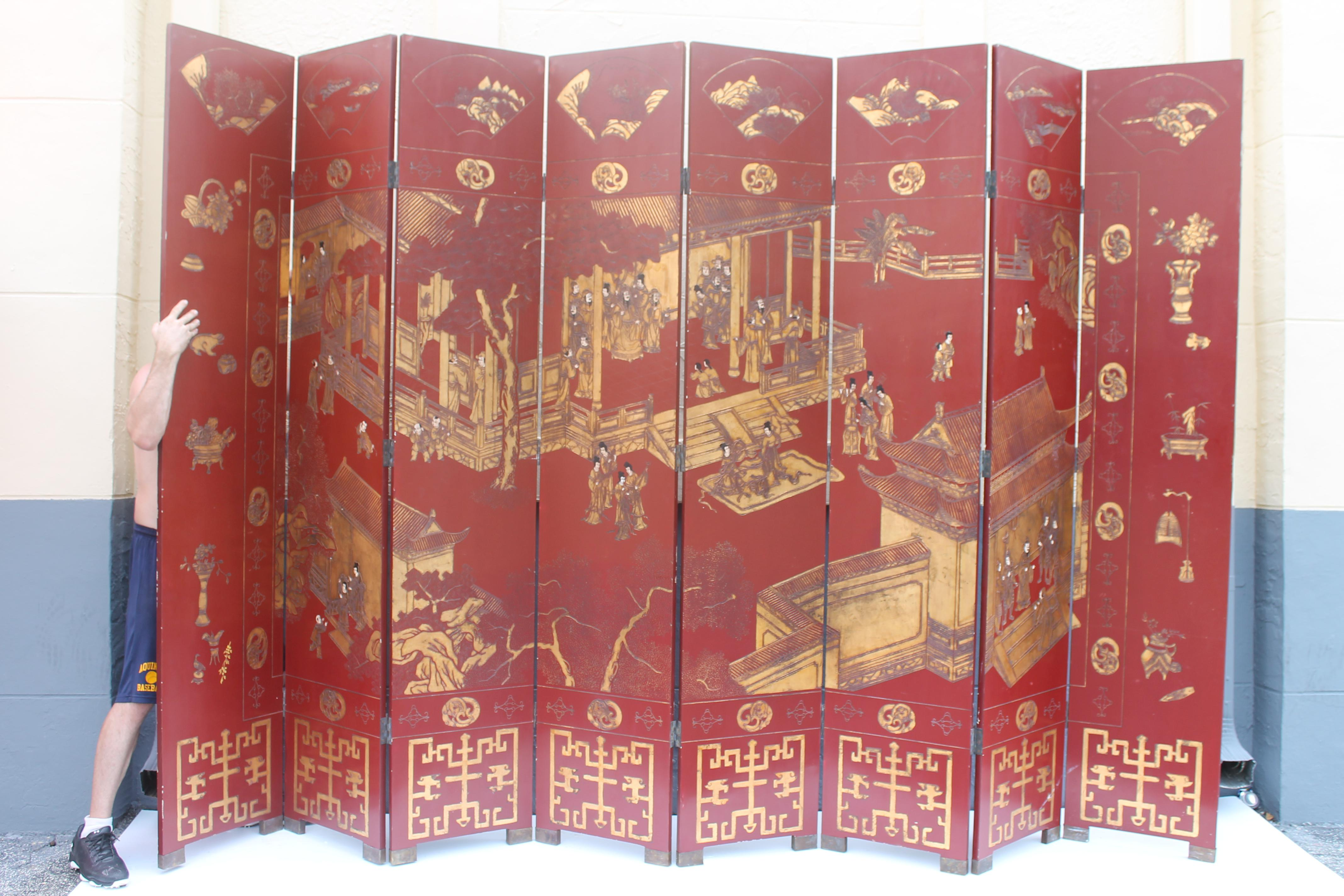 Antique Traditional 8 Panel Red 24k Gold Asian Screen Chairish